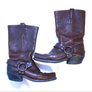 FRYE Leather Square Toe MidCalf Western Biker Boot